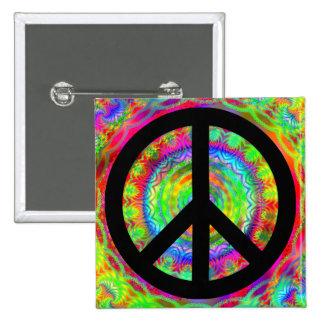 Signo de la paz negro enrrollado pin cuadrado