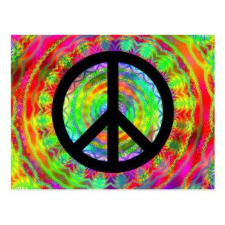 Signo de la paz negro enrrollado postales