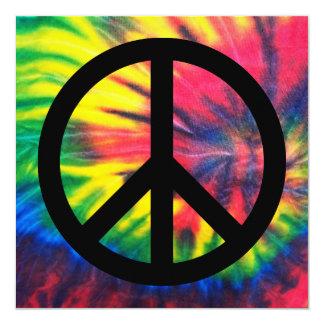 """Signo de la paz negro teñido lazo invitación 5.25"""" x 5.25"""""""