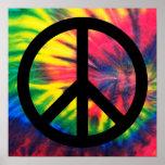 Signo de la paz negro teñido lazo poster