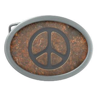 Signo de la paz oxidado hebillas de cinturon ovales