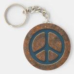 Signo de la paz oxidado llaveros