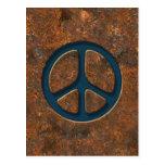 Signo de la paz oxidado postal