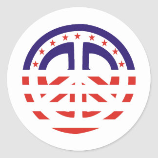 Signo de la paz patriótico pegatina redonda