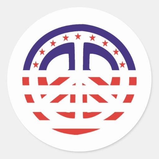 Signo de la paz patriótico pegatinas redondas