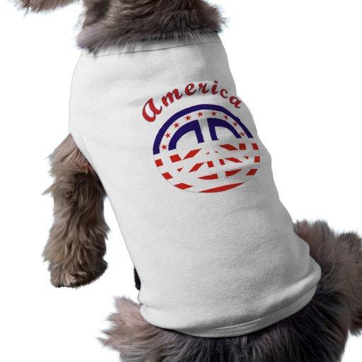 Signo de la paz patriótico playera sin mangas para perro