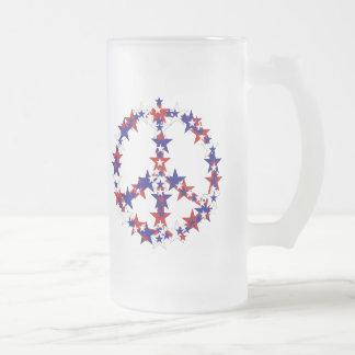 Signo de la paz patriótico taza de cristal