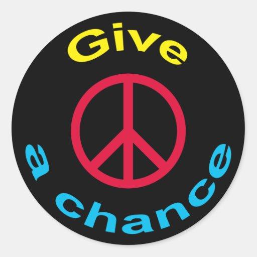 Signo de la paz pegatina redonda
