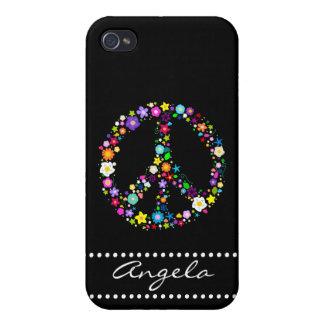 Signo de la paz personalizado de flores iPhone 4 carcasa