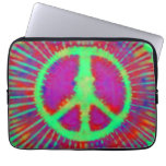 Signo de la paz psicodélico abstracto del teñido a funda computadora