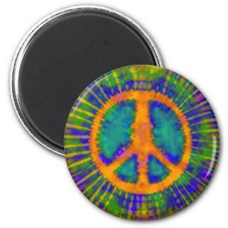 Signo de la paz psicodélico abstracto del teñido a imanes de nevera