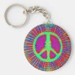 Signo de la paz psicodélico abstracto del teñido a llavero
