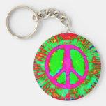 Signo de la paz psicodélico abstracto del teñido a llavero personalizado