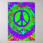 Signo de la paz psicodélico abstracto del teñido a posters