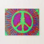 Signo de la paz psicodélico abstracto del teñido a rompecabeza con fotos