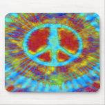 Signo de la paz psicodélico abstracto del teñido a alfombrillas de ratón