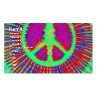 Signo de la paz psicodélico abstracto del teñido a tarjetas de visita