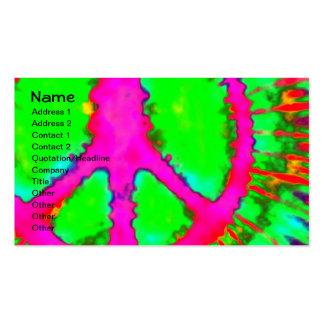 Signo de la paz psicodélico abstracto del teñido a plantilla de tarjeta de visita