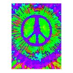 Signo de la paz psicodélico abstracto del teñido a postal