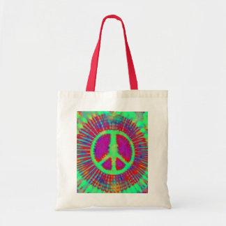 Signo de la paz psicodélico abstracto del teñido bolsa tela barata