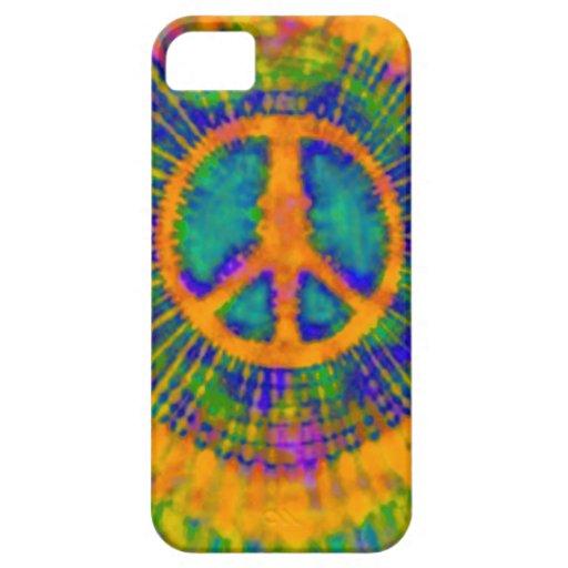 Signo de la paz psicodélico abstracto del teñido funda para iPhone SE/5/5s