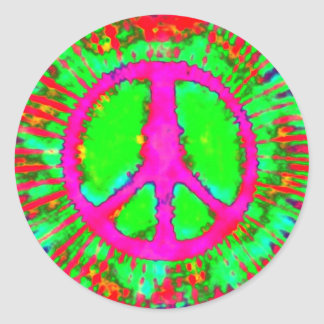 Signo de la paz psicodélico abstracto del teñido pegatina redonda