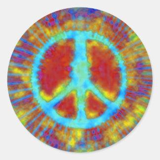 Signo de la paz psicodélico abstracto del teñido etiquetas redondas