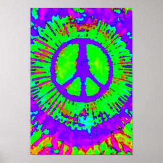 Signo de la paz psicodélico abstracto del teñido póster