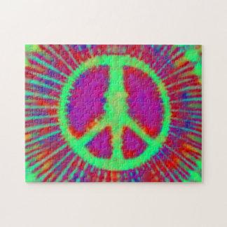 Signo de la paz psicodélico abstracto del teñido puzzles con fotos