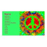 Signo de la paz psicodélico abstracto fresco del t plantilla de tarjeta de visita