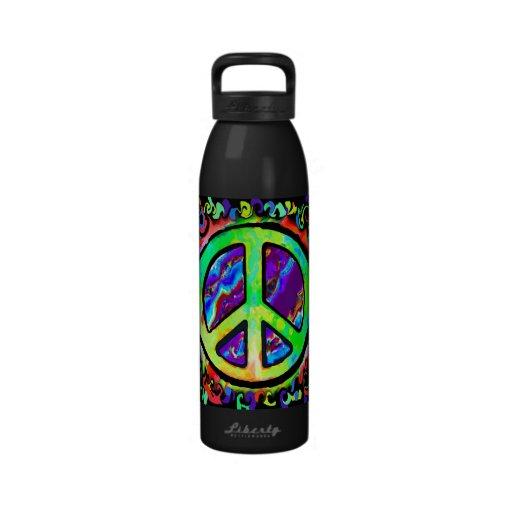 Signo de la paz psicodélico botellas de beber