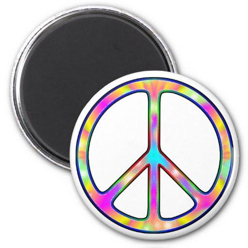 Signo de la paz psicodélico completo imán redondo 5 cm