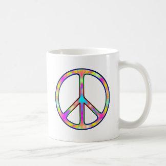 Signo de la paz psicodélico completo taza de café