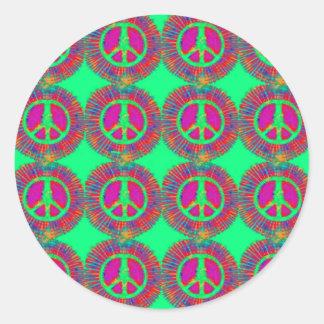 Signo de la paz psicodélico del teñido anudado pegatina redonda