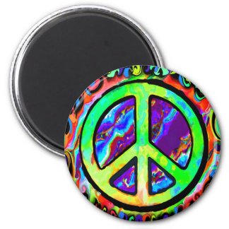 Signo de la paz psicodélico imán redondo 5 cm