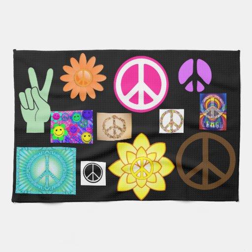 Signo de la paz psicodélico toalla de mano