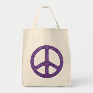 Signo de la paz púrpura apenado bolsa tela para la compra