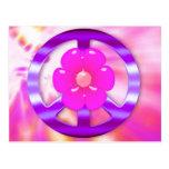 Signo de la paz púrpura bonito postales