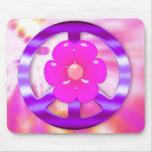 Signo de la paz púrpura bonito tapetes de ratón