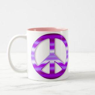 Signo de la paz púrpura bonito tazas