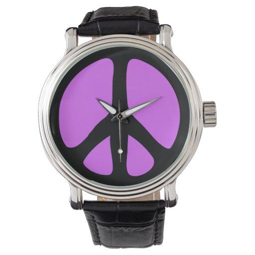 Signo de la paz púrpura de neón relojes