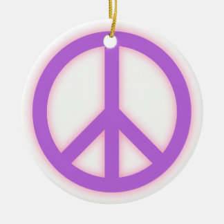 Signo de la paz púrpura ornamento para arbol de navidad