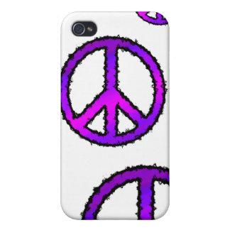 Signo de la paz púrpura del zigzag iPhone 4/4S carcasa