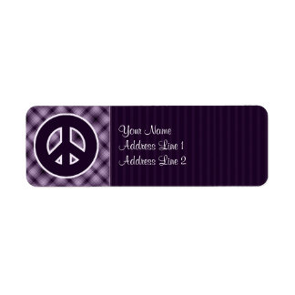 Signo de la paz púrpura etiqueta de remite