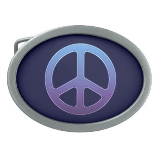 Signo de la paz púrpura hebillas cinturon ovales