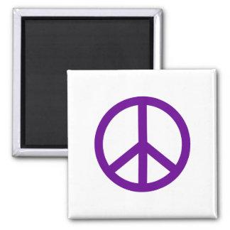 Signo de la paz púrpura imán cuadrado