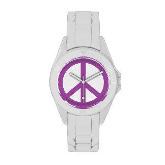 Signo de la paz púrpura oscuro relojes de pulsera