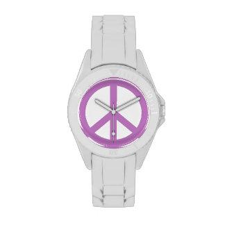 Signo de la paz púrpura relojes de mano