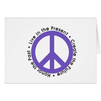 Signo de la paz púrpura tarjeta de felicitación