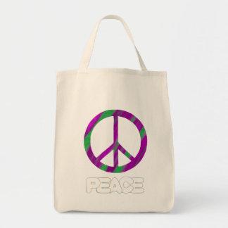 Signo de la paz púrpura y verde, las bolsas de